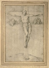 christ on the cross flanked by two angels by giulio clovio