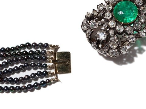 pearl diamond set with 5 carat columbian emerald 19th c