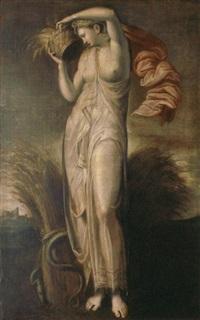 la déesse cérès portant une corbeille de blé dans un paysage by nicolo dell' abbate
