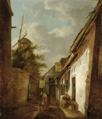 a view of a small street by hermanus van brussel