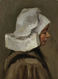 head of a peasant woman: right profile (kopf einer bäuerin: profil nach rechts) by vincent van gogh