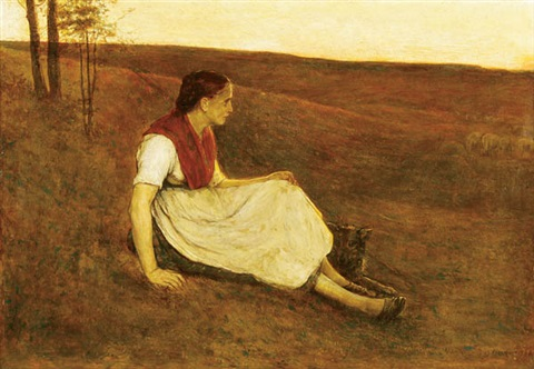 shepherdress with dog at dusk by alexander theodore honore struys
