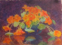 nasturtiums in a blue bowl by henry james albright
