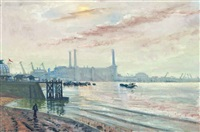 greenwich power station, london by sydney george ure smith