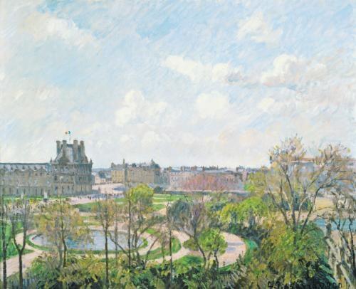le jardin des tuileries et le pavillon de flore matin printemps by camille pissarro