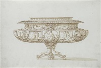 footed bowl with zeus with eagle and thunderbolt (design) by jacopo strada