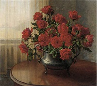 red roses on a table by a window by wilhelm andersen
