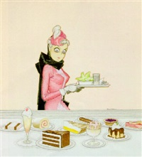 woman pausing by dessert counter by robert o. reid