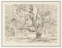house on the mainstreet, easthampton, the big horse chestnut tree, easthampton and spring in annapolis (3 works) by childe hassam