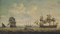 a merchantman, in two positions, off harwich with a large royal navy warship lying at anchor inshore by thomas luny
