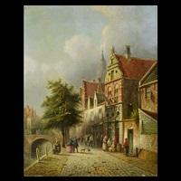 dutch street scene by pieter gerardus vertin