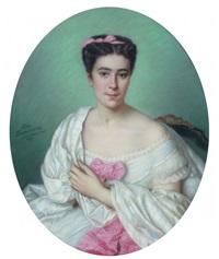 portrait de jeune femme à la robe blanche by eliza desrivieres