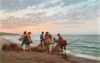 fischer am strand by pietro gabrini