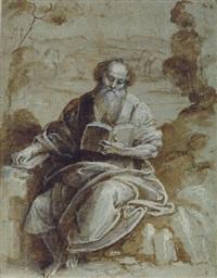 an evangelist seated in a wooded landscape by bernardino lanino