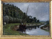 voilier sur la rivière by paul huet