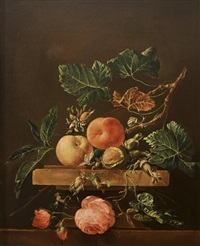 still life of peaches, hazelnuts & roses by frederick victor bailey