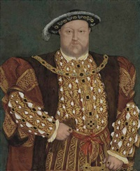 portrait of king henry viii in a fur-lined, gold-brocade cloak and doublet by hans holbein the younger