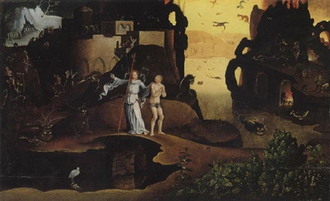 the guardian angel showing a lost soul through the underworld by jan mandijn