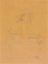 jeune fille assis sur une échelle by berthe morisot