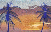 sunset with palm trees by michael vinson clark