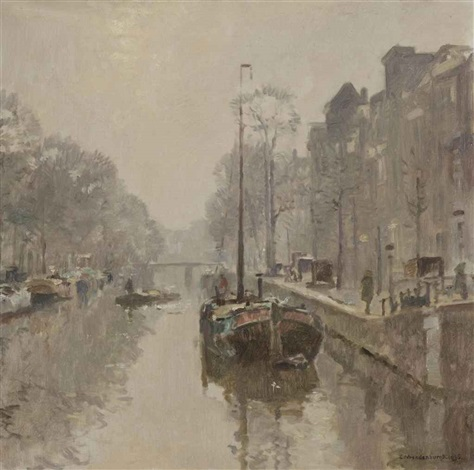 boats in a canal amsterdam by cornelis vreedenburgh