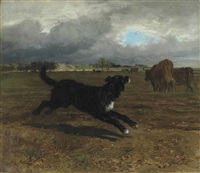 herding cattle before the storm by constant troyon