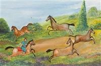 a rider lassooing horses by tassaduq sohail