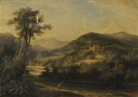 stobo castle, peeblesshire, with an angler by the river by j. williams