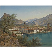 riva am gardasee (view of riva on lake garda) by franz reinhold