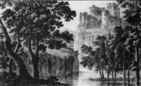 a castle overlooking a river gorge by robert adam