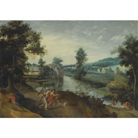 a wooded landscape with scenes from the story of tobias and the angel by claes dircksz van der heck