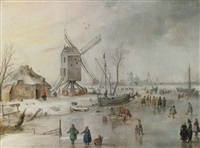 a winter scene with a windmill and figures on a frozen river by hendrick avercamp