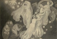 angels rescuing a soul from the ranks of the dead by john flaxman