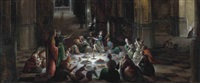 a church interior with figures feasting by hendrick van steenwyck the younger