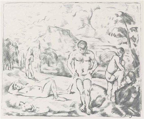 les baigneurs large plate by paul cézanne