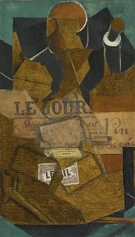 tabac, journal et bouteille de vin rosé by juan gris