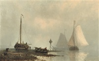 vessels on a calm river by johan conrad greive