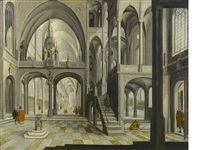 a church interior with figures by hendrick aerts
