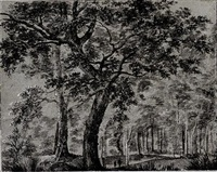 woodland scene, with two figures by a tall tree by joris van der haagen