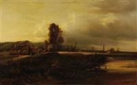 paysage pittoresque à la barque by leon victor dupré