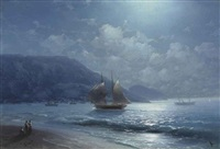 off the coast near yalta by moonlight by ivan konstantinovich aivazovsky