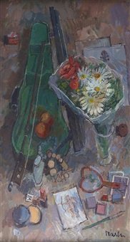 still life with violin bow and bouquet by donald manson