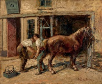 the horse stable by alfred théodore joseph bastien