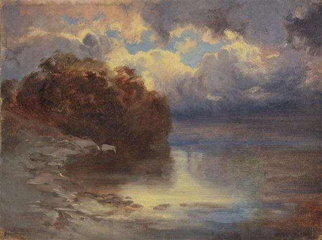 bord de lac et massif darbres by alexandre calame