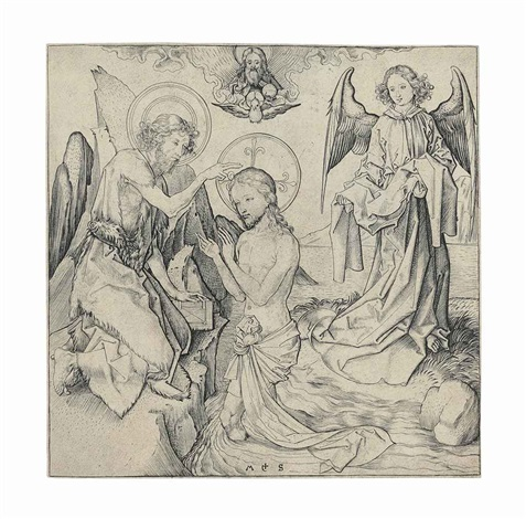 the baptism of christ by martin schongauer