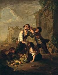 zwei bettelknaben raufen um einen am boden liegenden, umgefallenen früchtekorb. ein mädchen versucht sie zu beruhigen, währenddessen ein anderer knabe die gunst der stunde nutzt, um eine frucht aus dem korb zu stehlen by johann jakob dorner the elder