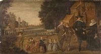 bildnis einer zehnköpfigen familie, im hintergrund ein jahrmarkt mit einem bänkelsänger by anonymous-dutch (17)