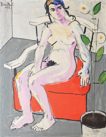 nude with flower by constantin piliuta