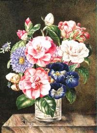 bouquet de fleurs sur un entablement de marbre by elisa-emilie lemire