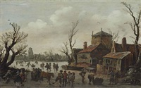 a winter scene with skaters and a village beyond by jan josefsz van goyen